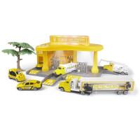 儿童合金车模玩具套装合金轨道车套装多功能主题加油站电动带灯光 工程加油站