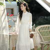 现货 春装2021年新款温柔初恋长裙气质仙女超仙森系白色连衣裙子