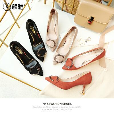 【毅雅】2018春季新款女鞋子水钻单鞋浅口尖头高跟鞋细跟女单鞋  YD8WM1778