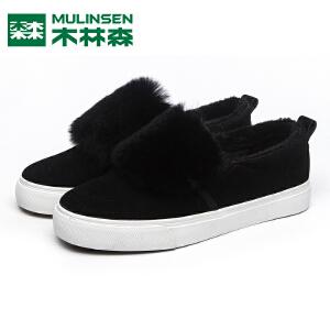 木林森女鞋冬季百搭一脚蹬懒人鞋加绒保暖棉鞋平底休闲鞋毛毛鞋子女