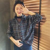 春季女装新款韩国chic网纱波点拼接假两件上衣学生长袖格子衬衫潮