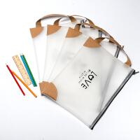 A4文件袋a5韩国学生手提透明文件袋拉链考试资料袋档案袋办公用品