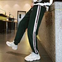 男士小脚运动裤男士宽松长裤小脚卫裤休闲裤男条纹跑步裤子潮