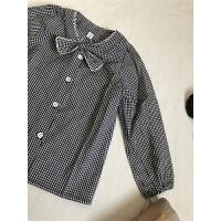 女童春款格子衬衫 女宝宝婴幼儿领结气质小格子衬衣衬衫