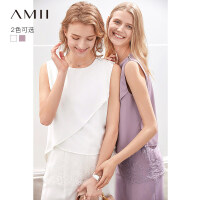 【到手价:115元】Amii极简法式雪纺衫女2019夏季不规则拼接睫毛蕾丝气质背心上衣