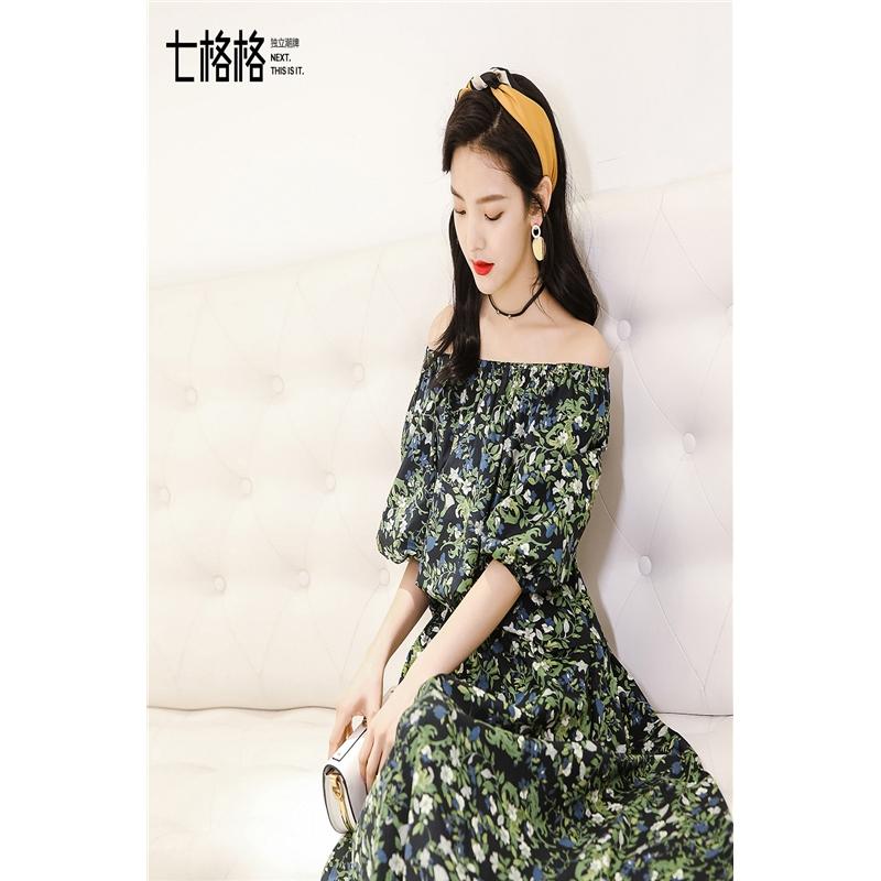 七格格 雪纺衬衫女装新款春夏装韩版宽松上衣短款甜美一字肩碎花衬衣