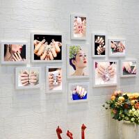 美甲店实木相片墙画框美容院创意纹绣照片墙装饰挂墙相框组合海报 10寸3个,7寸8个
