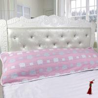 纯棉纱布加长双人枕巾枕头巾提花情侣长枕巾婚庆枕巾全棉 粉红色 52X120厘米粉色猫