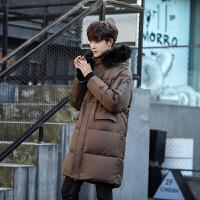 冬季新款中长款过膝加厚羽绒服男韩版连帽修身大毛领羽绒外套 棕色 M