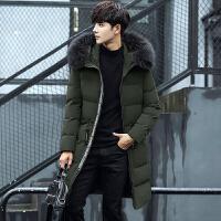 冬新品羽绒服男中长款连帽毛领韩版修身青年加厚外套潮流
