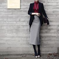 毛呢半身裙秋冬中长款加厚双面羊绒包臀裙开叉一步长裙铅笔裙冬