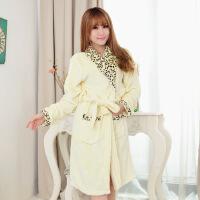 韩版可爱睡衣女法兰绒家居服女长袖加厚保暖卡通睡袍加长浴衣大码 均码