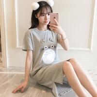 睡裙女夏季韩版清新学生卡通龙猫短袖性感宽松孕妇睡衣可外穿