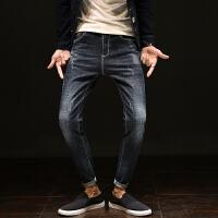 秋季新款牛仔裤男日系青少年修身小脚男裤韩版潮流显瘦哈伦长裤子 70黑色