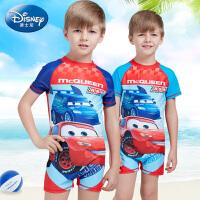 迪士尼男童连体泳衣夏儿童速干衣泳装男孩汽车总动员防晒游泳衣