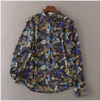 修身POLO领上衣单排扣长袖花色雪纺衫女6012