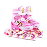 溜冰鞋男女旱冰轮滑鞋直排轮可调3-4-5-6-8-10岁儿童全套装