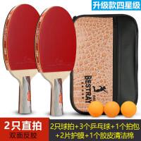 ppq乒乓球拍一对2只装双拍娱乐训练健身反胶兵乓球成品拍 4_升级款 四星(2支直拍)*包