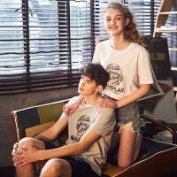 [2.5折价32.5元]唐狮夏装新款短袖T恤男韩版潮流印花青年学生纯棉圆领打底衫