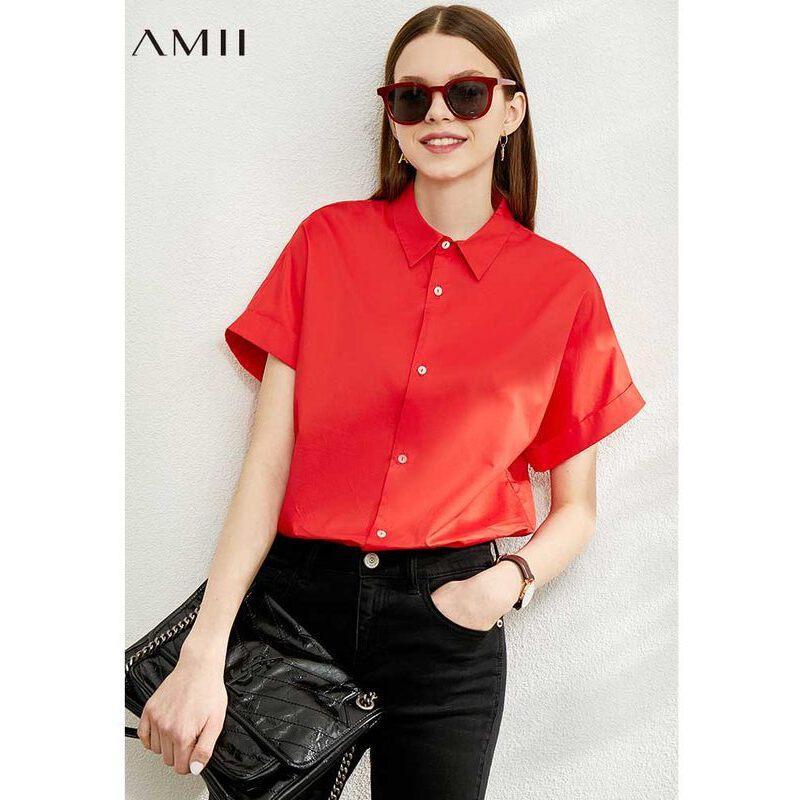 【券后预估价:103元】Amii百搭仿天丝纯棉衬衫女2020夏新款短袖衬衣不规则设计感上衣 预售6月28日发货