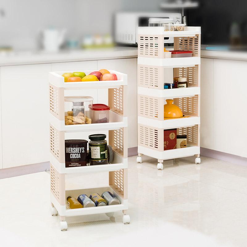 宝优妮厨房用品收纳架可移动杂物架整理架蔬菜水果置物架落地多层多层收纳架 带轮可移动