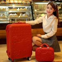 七夕礼物韩版学生子母箱拉杆箱万向轮儿童旅行箱20寸行李箱女28硬 顶配大轮大红 28寸+14寸(买一送十)