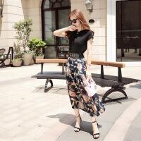 年夏季圆领短袖修身纯色蕾丝雪纺衫韩版显瘦印花半身裙两件套 黑衣花裤