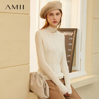 【券后�A估�r:218元】Amii法式100%�新羊毛套�^毛衣2020秋冬新款�U空�^花黑色上衣女