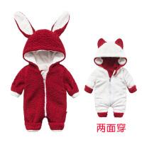 201805050549099珊瑚绒睡衣女婴儿连体衣服0岁3男宝宝1秋冬装6保暖外套装加绒加厚