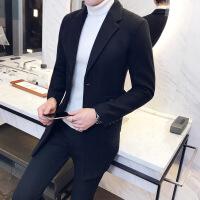 2017冬季潮男士修身中长款毛呢风衣 青年韩版英伦翻领呢大衣外套
