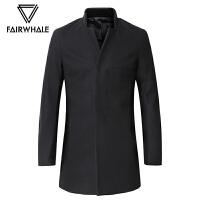 马克华菲毛呢大衣男士冬季新款男装中长款羊绒呢子外套韩版潮