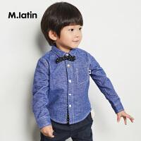 【1件秒杀价:120】马拉丁童装男小童长袖衬衫春新品个性可拆卸领结儿童衬衫