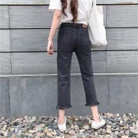 韩观2017夏装新款韩版高腰直筒裤毛边牛仔裤女学生显瘦九分铅笔阔腿裤SN691 黑色