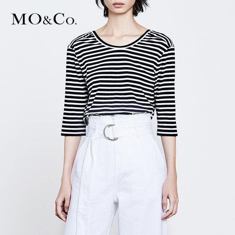 MOCO夏季新品镶边圆领绑结条纹露背T恤MT182TEE202 摩安珂 满399包邮 舒适圆领剪裁 果敢露背设计
