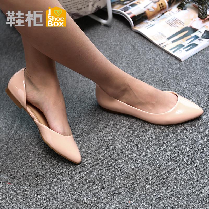 达芙妮旗下SHOEBOX/鞋柜时尚简约舒适平底浅口尖头单鞋女