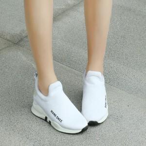 O'SHELL欧希尔新品026-B12-26休闲混合材质内增高女士休闲鞋