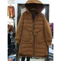 J1�n版女冬季外套棉�\�W生麂皮�q羊羔毛印花棉衣女中�L款1.05