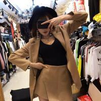 2018新款女装春装 时髦套装名媛气质百搭长款外套不规则半身裤裙