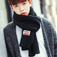 围巾男冬季新款男式韩版百搭纯色简约学生男生年轻人男款围脖