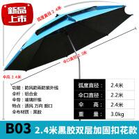 2.2米黑胶万向折叠防雨户外垂钓渔具钓伞2.4米台钓遮阳SN6715 B03 2.4米黑胶双层