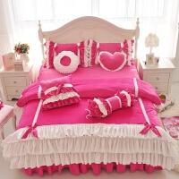 家纺韩版冬季法莱绒天鹅绒床裙四件套粉公主短毛绒珊瑚结婚庆床上用品