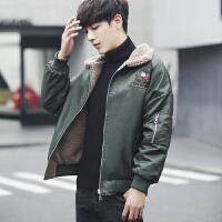 冬季加厚男士棉衣羊羔毛领休闲棉服韩版潮男修身棉袄加绒夹克外套