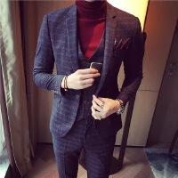 秋季英伦修身西服新郎西装经典色织工艺 男士套装韩版休闲三件套