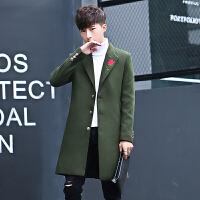 毛呢大衣男中长款韩版修身潮流帅气冬季青年学生呢子风衣妮子外套 军绿色 M