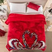伊丝洁家纺2017秋冬季新款棉被子素雅粉色花朵保暖加厚双层拉舍尔毛毯床上用品 200cmx230cm