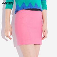 七格格冬季新款PU皮拼接羊毛chic学生包臀短裙高腰A字半身裙女