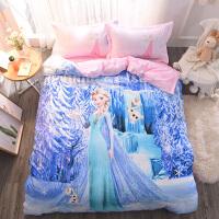 迪士尼卡通纯棉床上四件套全棉儿童床品公主风床单被套三件套女孩