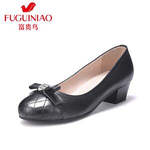 富贵鸟女鞋 夏季新款 粗跟单鞋女 中跟皮鞋女工作鞋