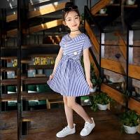 新款女童连衣裙中大童洋气条纹长裙子童装夏装儿童纯棉公主裙