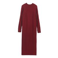 超长款毛衣裙套头女秋冬宽松大码半高领中长款过膝打底针织衫加厚